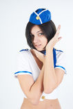 Young beautiful air hostess Royalty Free Stock Image