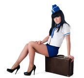 Young beautiful air hostess Stock Photography