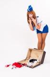 Young beautiful air hostess Stock Image