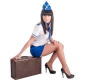 Young beautiful air hostess Royalty Free Stock Photos