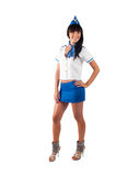 Young beautiful air hostess smiles Stock Image