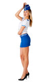 Young beautiful air hostess smiles royalty free stock photo