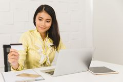 Asian architect lady at office stock photo
