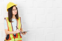 Asian architect lady at office royalty free stock photos