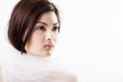 Young beautiful asian bride wrapped in a veil. Portrait of young beautiful asian bride wrapped in a veil Royalty Free Stock Image
