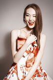 Young beautiful asian brunette in gorgeous dress Royalty Free Stock Photos