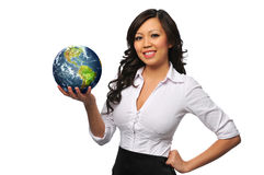 Young beautiful asian businesswoman holding the ea