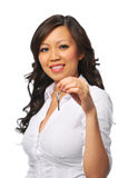 Young beautiful asian businesswoman holding a key Royalty Free Stock Photos