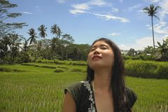 Young beautiful Asian Chinese tourist exploring jungle and rice field pad area in Bali Indonesia relaxed and happy enjoying holida Stock Images