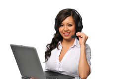 Young beautiful asian customer service representat Stock Image