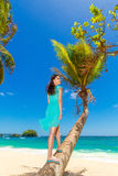 Young beautiful Asian  girl with coconut on the palm tree  Royalty Free Stock Photos