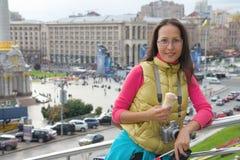 Young asian woman traveler in Kyiv, Ukraine Stock Photos