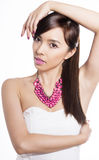 Young beautiful asian woman with flawless skin and perfect make-up and brown hair Royalty Free Stock Photo