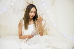 Asian girl hold dry flowers given by boyfriend. Young beautiful Asian woman hold and smell dry rabbit tail flowers on bed in bedroom, concept of in love girl Royalty Free Stock Images