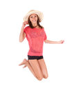 Young beautiful asian woman jumping Royalty Free Stock Image