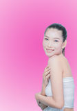 Young beautiful asian woman make up. On white background Royalty Free Stock Images