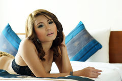 Young beautiful Asian woman in sexy lingerie Royalty Free Stock Image