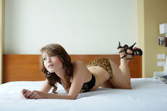 Young beautiful Asian woman in sexy lingerie Royalty Free Stock Photos
