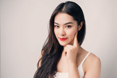Young beautiful Asian woman with smiley face. Royalty Free Stock Photos