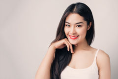 Young beautiful Asian woman with smiley face. Royalty Free Stock Photography