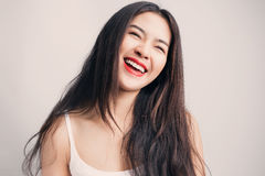 Young beautiful Asian woman with smiley face. Stock Photo