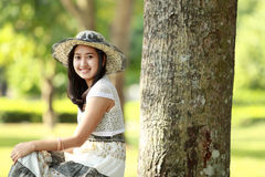 Young beautiful asian woman smiling and relaxed Stock Photography