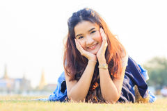 Young and beautiful asian woman with smiling Royalty Free Stock Photography