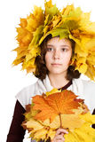 Young beautiful autumn-girl Royalty Free Stock Image