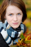 Young beautiful autumn lady. In the park Stock Images