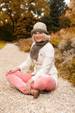 Young beautiful autumn woman in yellow park Royalty Free Stock Photography