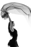 Young beautiful ballerina dancing with a flying Royalty Free Stock Image