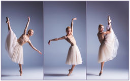 The young beautiful ballerina dancing on a gray background. Collage Stock Images
