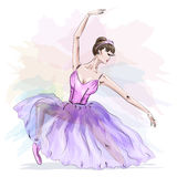 Young and beautiful ballerina posing and dancing in fashion pink dress. Stock Photos