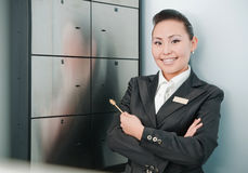 Young beautiful bank worker Royalty Free Stock Images