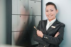 Young beautiful bank worker Royalty Free Stock Photos