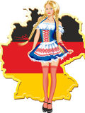 Young and beautiful bavarian girl over Germany map. Full length portrait of a woman wearing traditional costume and holding on Germany map background Royalty Free Illustration