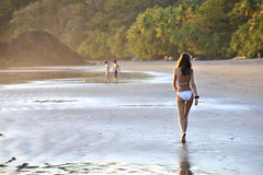 Young beautiful on a beach. stock images