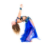 Young beautiful belly dancer in a blue costume Royalty Free Stock Photography