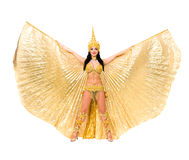 Young beautiful belly dancer in a gold costume Royalty Free Stock Photo