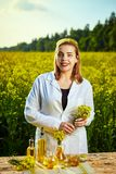 A young beautiful biologist or agronomist examines the quality of rapeseed oil on a rape field. Agribusiness concept. A young beautiful biologist or agronomist stock photos