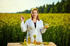 A young beautiful biologist or agronomist examines the quality of rapeseed oil on a rape field. Agribusiness concept. A young beautiful biologist or agronomist royalty free stock image