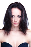 Young beautiful black haired women's head-shot Stock Images
