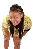 Young beautiful black woman looking up Stock Photos