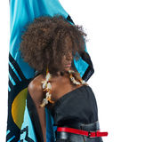 A young Beautiful black woman raising her cape Stock Images