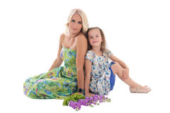 Young beautiful blond with daughter isolated on white Stock Image