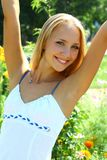 Young beautiful blond female with long hair Stock Photo