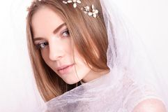 Young beautiful blond fiancee portrait with white veil. Young beautiful blond fiancee portrait with white veil on light background looking at camera Royalty Free Stock Photo