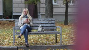 Young beautiful blond girl sitting on a bench in an autumn park with a phone in hands stock video footage