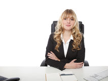 Young beautiful blond haired business woman Stock Photos