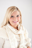 Young beautiful blond winter woman Royalty Free Stock Images